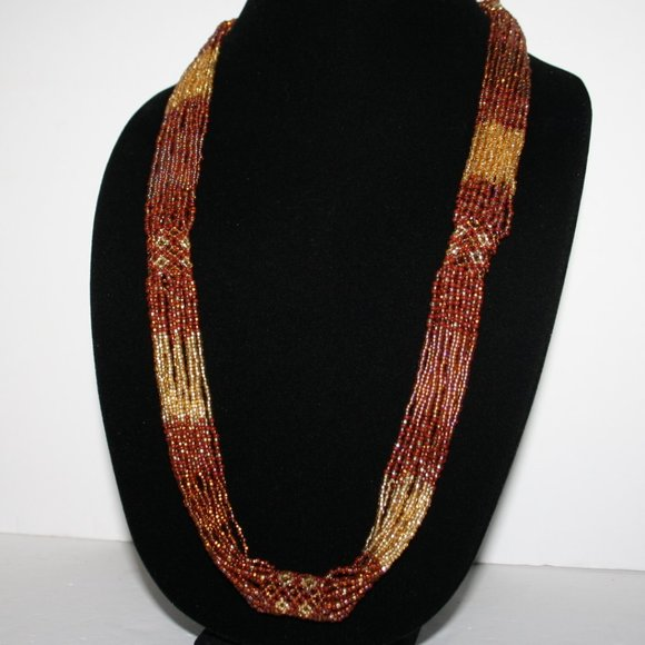 "30"" yellow and orange beaded necklace"